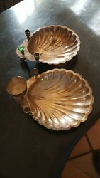 Two Silver Plated Condiment Clam Shell Serving Dishes Gem Stone Handle .rare.
