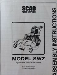 Scag Swz Hydrostatic Walk-behind Lawn Mower Tractor Assembly Manual 5120001-up