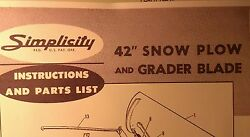 Simplicity Landlord Tractor Dozer Blade Snow Plow Owner And Parts 3 Manual S