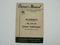 Fa-40 Lister Cultivator Four Row Owners Manual Parts List Mccormick Deering 1949