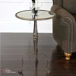 28 T Set Of 2 Side Table Forged Iron Base Round Antiqued Mirror Top Curved Legs