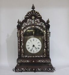 31 Chinese Retro Bronze Red Wood Frame Inlay Conch Mechanical Swing Table Clock