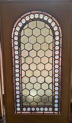 Arched Jeweled Stained Glass Wondow