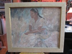 """Pang Jen Unsigned Painting """"young Woman Holding A Basket"""""""