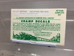 Set Of Ho Champ Decals Please See Photo Amtrak Diesel Blue Lettering Early Unit