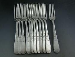 12 Coin Silver S Kirk And Son 6 7/8 Luncheon Forks Mayflower 1846 10.15 Mark