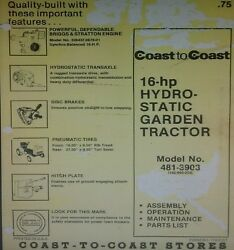 Mtd 990 Coast To Coast Lawn Garden Tractor And Mower Owner And Parts 2 Manual S