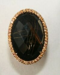 Roberto Coin Onyx With Orange Sapphires Ring 473405axlros Size 5.5