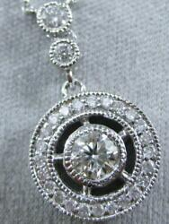 Fancy Pave Diamond 14kt W Gold Hanging Circle Stud Halo Necklace 16 N03095aw1