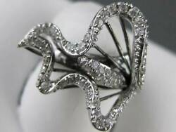 Pave Diamond 14kt White Gold Wire Puff Cala Lilly Flower Cocktail Ring R38717wa