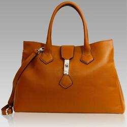 Silvano Biagini Designer Hermes Orange Leather Crossbody Purse Laptop Bag