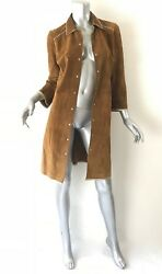 Miu Miu suede leather coat trench duster Sz46 8  10 knee length 34 button