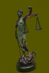 Real Bronze Blind Lady Of Justice Statue Old Fnsh Scales Large Tall Lost Wax Art