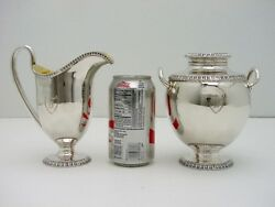 Coin Silver Cream N Sugar Wth Lid Gold Wash Ball And Black Eoff And Sheppard C1850
