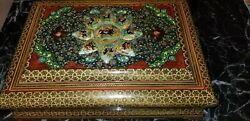 Large Wooden Handcrafted Persian Jewlery Box H 3inch W 9.75 Inch L 13.75 Inch