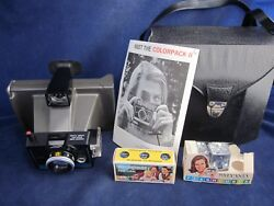 Polaroid Colorpack Ii Camera Land Instant Film With 5 Flash Cubes Case And Manual