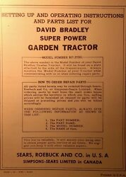 Sears David Bradley Garden Tractor, Engine, Plow Owner And Parts 3 Manual S
