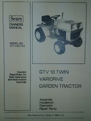 Sears Suburban Gtv 16 Twin Lawn Garden Tractor Owner And Parts Manual 917.253724