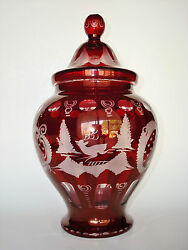 Vintage 19th C. Large 11 Bohemian Ruby Flash Cut-glass Urn Covered Compote