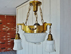 Salvaged Elegant Antique Colonial 4 Bulbs Ceiling Lamp Chandelier