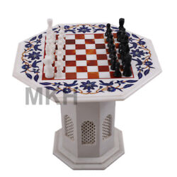 22 Marble Inlay Chess Board Set Vintage With Stone Pieces Coffee Table Handmade