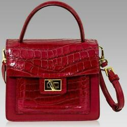 Silvano Biagini Designer Garnet Red Real Crocodile DIVINA Leather Box Bag $1,001.00
