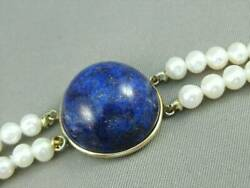Estate Round Blue Lapis Lazuli Pearl 14k Y Gold 26 2 Row Necklace 21mm N1262.4