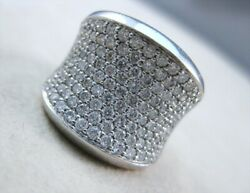 Estate 18m Wide 2.25ctw Diamond 18k White Gold Pave Cocktail Ring Band R19506bof