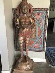Brass Lakshami Statue Standing With A Lamp In Hand 52 Tall