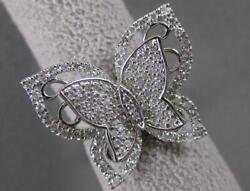 Large Estate .97ctw Diamond Butterfly 14k White Gold Halo Cocktail Ring R38101ao