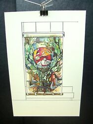 Dove Tree Of Life Staind Glass 1946-59 Original Ink Sketch By C. Kelm
