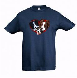 Border Collies in Heart Kids Dog Themed Tshirt Childrens Tee Check Measurements