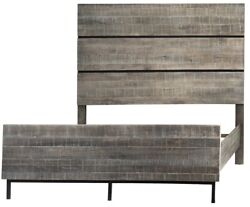 84 Martina Queen Bed Hand Crafted Washed Oak Solid Wood Black Metal Base