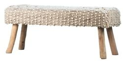 48 L Irmina Bench Hand Woven Natural Material Wooden Legs One Of A Kind