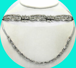Diamond coaster omega chain necklace 14K white gold baguette .85CT 18.5G 18 34