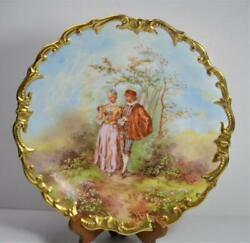 Rare Lrandl Limoges Signed Artist Muville Romantic Scene 11 1/2 Plate Charger