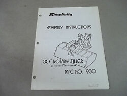 Simplicity Braodmoor Yeoman Tractor Instruction And Parts List 30 Rotary Tiller