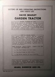 David Bradley Sears 917.5756 Garden Tractor And Plow Owners And Parts 2 Manuals