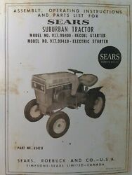 Sears Suburban 10 Garden Tractor And Mower Owner And Parts 2 Manuals 917.99400 Hp