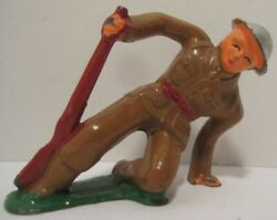 Old Lead Military Soldier Falling W/ Rifle - Cast Helmet - Barclay