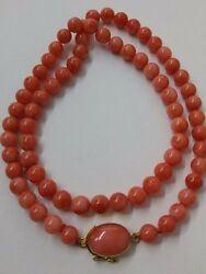 169 Carat Natural Italian Salmon Coral Beads 7mm Gold Clasp Very Rare Color