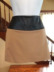 EXPRESS 8 Minus The Leather Black Trim Mini Camel Skirt Lined Sexy Comfortable