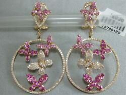 Large Pave Diamond Pink Sapphire 14k Rose Gold Butterfly Circle Earrings E57801r