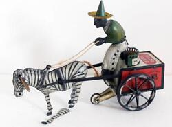 Lehmann -tinplate Dare Devil Epl752- Clockwork Zebra Pulling A Cart And Man