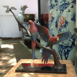 45 Cm Chinese Art Deco Brass Marble Painted Parrot Macaw Cockatoo Bird Sculpture