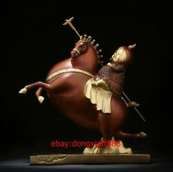 27.5 Cm China Art Deco Pure Brass Soldier Warrior Ride Horse Abstract Sculpture