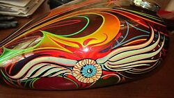 Harley Davidson Hand Painted Gas Tank Signed By David Bell 1977