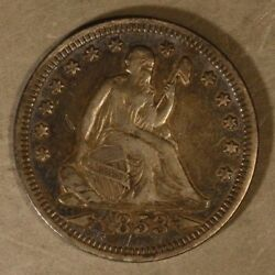 1853 Seated Liberty Quarter Silver W/arrows And Rays  Free U.s. Shipping