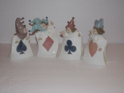 Nao By Lladro - Set Of Four Card Figurines - Spade, Diamond, Heart, And Clubs