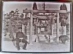 Wwii Japanese Officer Seating In Front Of Shrine B/w Glass Plate Negative
